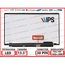"PANTALLA 13.3"" LED (1920x1080) SLIM CONECTOR BAJO DERECHA 30PIN IPS"