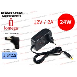 CARGADOR DISCO DURO MULTIMEDIA IOMEGA SCREENPLAY 12V 2A 24W 5.5*2.5