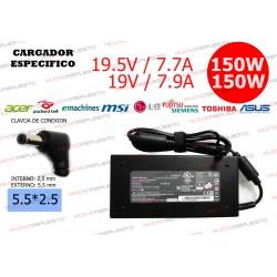 CARGADOR ESPCIFICO LG/MSI/ASUS/TOSHIBA/LENOVO 19V 7.9A 150W 5.5*2.5
