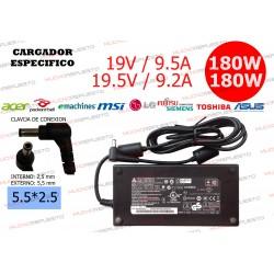 CARGADOR ESPECIFICO (LG/MSI/ASUS/TOSHIBA/LENOVO...) 19V 9.5A 180W 5.5*2.5