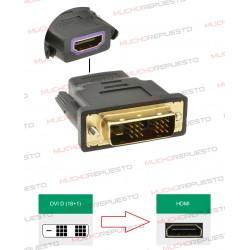 CONVERSOR DVI-D Macho (Single Link) (18PINES+1 RAYA) A HDMI Hembra