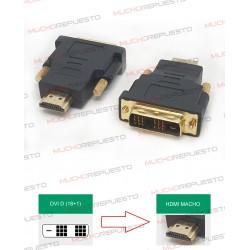 CONVERSOR DVI-D Macho (Single Link) (18PINES+1 RAYA) A HDMI Macho
