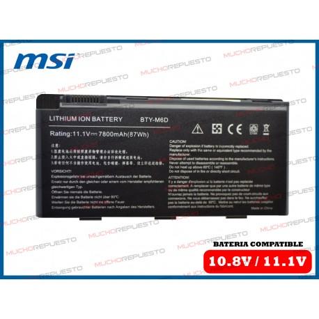 BATERIA MSI 11.1V 6600mAh GT660/GT663/GT670/GT680/GT683/GT760/GT780