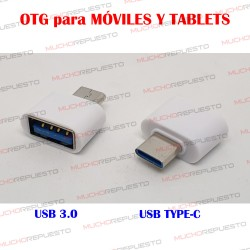 CONECTOR OTG USB USB 3.0 TYPE-C PARA MOVILES Y TABLETS BLANCO