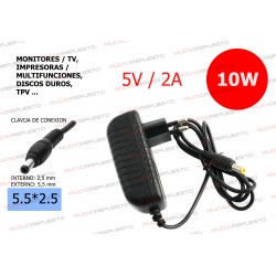 CARGADOR COMP. (HUB, SWITCH, ROUTER, DISCO DURO, TPV...) 5V 2A 10W 5.5*2.5