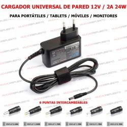 CARGADOR UNIVERSAL 12V 2A 24W CON 6 PUNTAS