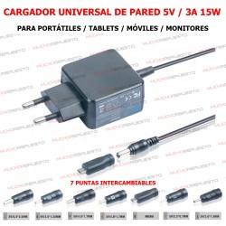 CARGADOR UNIVERSAL 5V 3A 15W CON 7 PUNTAS