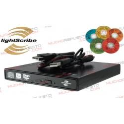 GRABADORA DVD+/-RW EXTERNA USB2.0 SLIM LIGHTSCRIBE