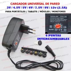 CARGADOR UNIVERSAL 3V-4.5V-5V-6V-7.5V-9V-12V 2.5A 30W (6 PUNTAS)