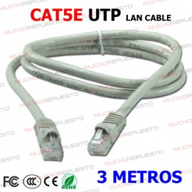 CABLE RED UTP CAT5E RJ45 3...