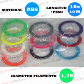 PACK FILAMENTOS ABS (10...