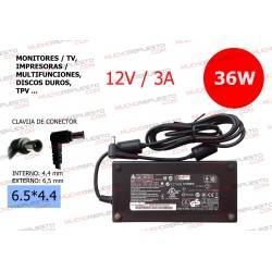 CARGADOR COMP. (MONITOR,TV (TFT/LCD),DISCO DURO,TPV...) 12V 3A 36W 6.5*4.4