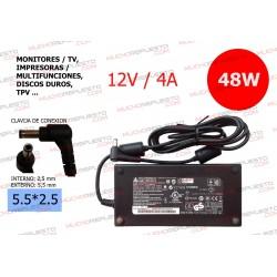 CARGADOR COMP. (MONITOR,TV (TFT/LCD),DISCO DURO,TPV...) 12V 4A 48W 5.5*2.5