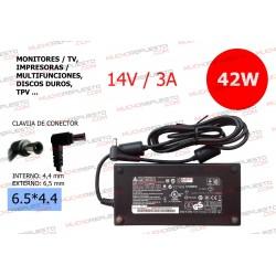 CARGADOR COMP. (MONITOR,TV (TFT/LCD),DISCO DURO,TPV...) 14V 3A 42W 6.5*4.4