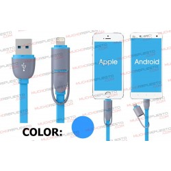 CABLE USB DATOS / CARGA ANDROID+IOS 1metro (AZUL)