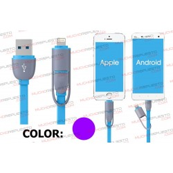 CABLE USB DATOS / CARGA ANDROID+IOS 1metro (MORADO
