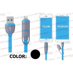 CABLE USB DATOS / CARGA ANDROID+IOS 1metro (NEGRO)
