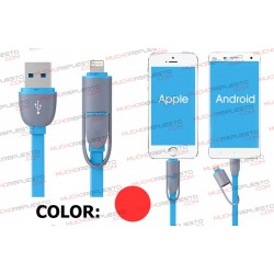 CABLE USB DATOS / CARGA ANDROID+IOS 1metro (ROJO)