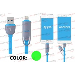CABLE USB DATOS / CARGA ANDROID+IOS 1metro (VERDE)