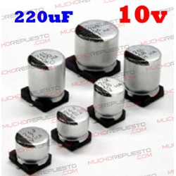 Condensador electrolítico SMD 220uF. 10V (6x5mm)