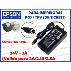 CARGADOR IMPRESORA DE TICKETS EPSON/SAMSUNG/POSIFLEX PS-180/PS-179/PS-170 24V 3A