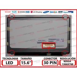 "PANTALLA 15.6"" LED (1366x768) SLIM 4 ANCLAJES SUPERIOR/INFERIOR CONECTOR BAJO DERECHA 30PIN BRILLO"