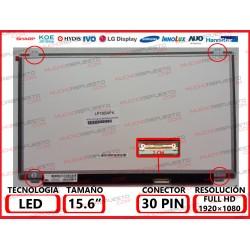 """PANTALLA 15.6"""" LED (1920x1080) SLIM 4 ANCLAJES SUPERIOR/INFERIOR CONECTOR BAJO DERECHA 30PIN"""