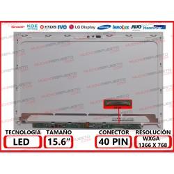 "PANTALLA 15.6"" LED (1366x768) SLIM CONECTOR BAJO IZQUIERDA 40PIN (CON AGUJERO CAMARA) LG"