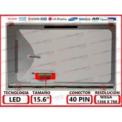 """PANTALLA 15.6"""" LED (1366x768) SLIM 4 ANCLAJES SUPERIOR/INFERIOR CONECTOR BAJO IZQUIERDA 40PIN"""