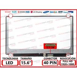 """PANTALLA 15.6"""" LED (1920x1080) SLIM 4 ANCLAJES SUPERIOR/INFERIOR CONECTOR BAJO DERECHA 40PIN"""