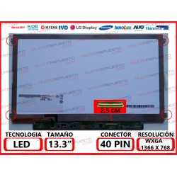 "PANTALLA 13.3"" LED (1366x768) SLIM 4 ANCLAJES LATERALES CONECTOR BAJO DERECHA 40PIN"