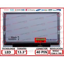 """PANTALLA 13.3"""" LED (1366x768) SLIM 6 PUNTOS ANCLAJE BRACKET COMPLETO CONECTOR BAJO DERECHA"""