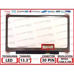 """PANTALLA 13.3"""" LED (1366x768) SLIM 4 PUNTOS ANCLAJE SUPERIOR/INFERIOR CONECTOR BAJO DERECHA 30PIN"""