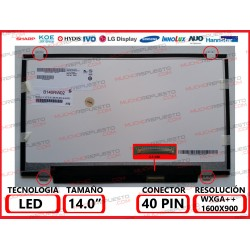 "PANTALLA 14"" LED (1600x900) SLIM 4 ANCLAJES SUPERIOR/INFERIOR 40PIN"
