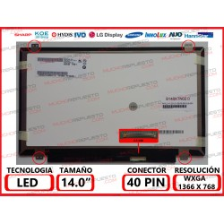 "PANTALLA 14"" LED (1366x768) SLIM 4 ANCLAJES SUPERIOR/INFERIOR 40PIN MATE"