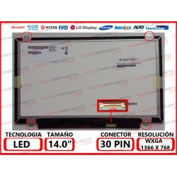 "PANTALLA 14"" LED (1366x768) SLIM 4 ANCLAJES SUPERIOR/INFERIOR 30PIN"