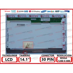 "PANTALLA 14.1"" LCD (1280x800) 1CCFL BRILLO CONECTOR SUPERIOR DERECHA"