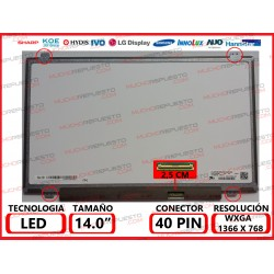 "PANTALLA 14"" LED (1366x768) SLIM 4 ANCLAJES SUPERIOR/INFERIOR 40PIN BRILLO"