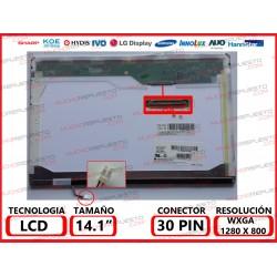 "PANTALLA 14.1"" LCD (1280x800) 1CCFL MATE CONECTOR SUPERIOR DERECHA"