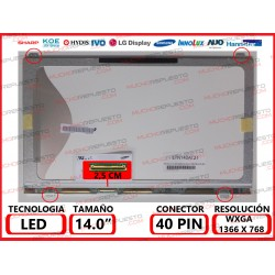 "PANTALLA 14"" LED (1366x768) SLIM 4 ANCLAJES SUPERIOR/INFERIOR 40PIN"