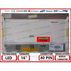 "PANTALLA 16"" LED (1366x768) BRILLO CONECTOR BAJO DERECHA 40PIN"