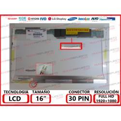 "PANTALLA 16"" LCD (1920x1080) 1CCFL CONECTOR SUPERIOR DERECHA"