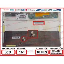 "PANTALLA 16"" LCD (1920x1080) 2CCFL (Doble Lampara) CONECTOR SUPERIOR DERECHA"