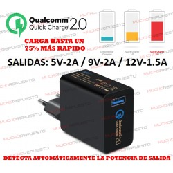 CARGADOR TABLET/MOVIL USB QUALCOMM Quick Charge 2.0 (CARGA RÁPIDA)