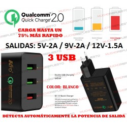 CARGADOR TABLET/MOVIL 3xUSB QUALCOMM Quick Charge 2.0 (CARGA RÁPIDA) BLANCO