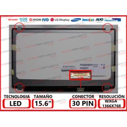 "PANTALLA 15.6"" LED SLIM BRS/I B.D. 30PIN MATE"