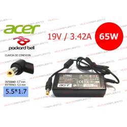 CARGADOR ORIGINAL ACER / PACKARD BELL 19V 3.42A 65W 5.5*1.7 PIN AMARILLO