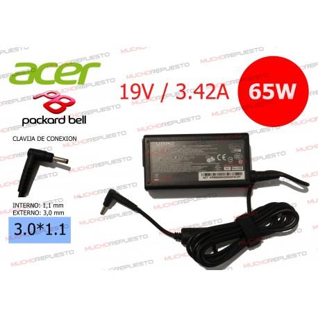 CARGADOR ORIGINAL ACER / PACKARD BELL 19V 3.42A 65W 3.0*1.1