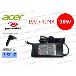 CARGADOR ORIGINAL ACER / PACKARD BELL 19V 4.74A 90W 5.5*1.7 PIN AZUL