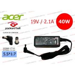 CARGADOR ORIGINAL ACER / PACKARD BELL 19V 2.1A 40W 5.5*1.7